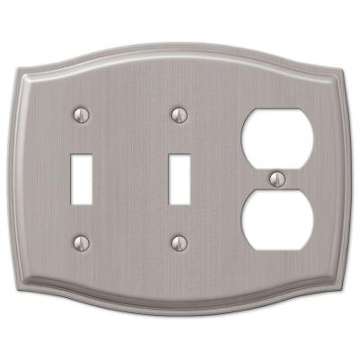 Vineyard 3 Gang 2-Toggle and 1-Duplex Steel Wall Plate - Brushed Nickel