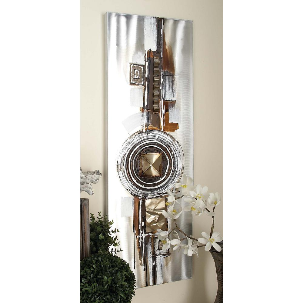 "16 in. x 47 in. ""Abstract Espresso"" Aluminum Canvas Art (Set"