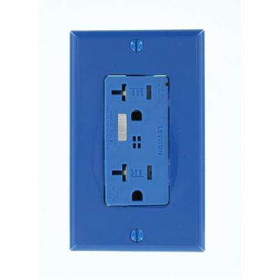 Decora Plus 20 Amp Commercial Grade Tamper Resistant Self Grounding Duplex Surge Outlet with Audible Alarm, Blue