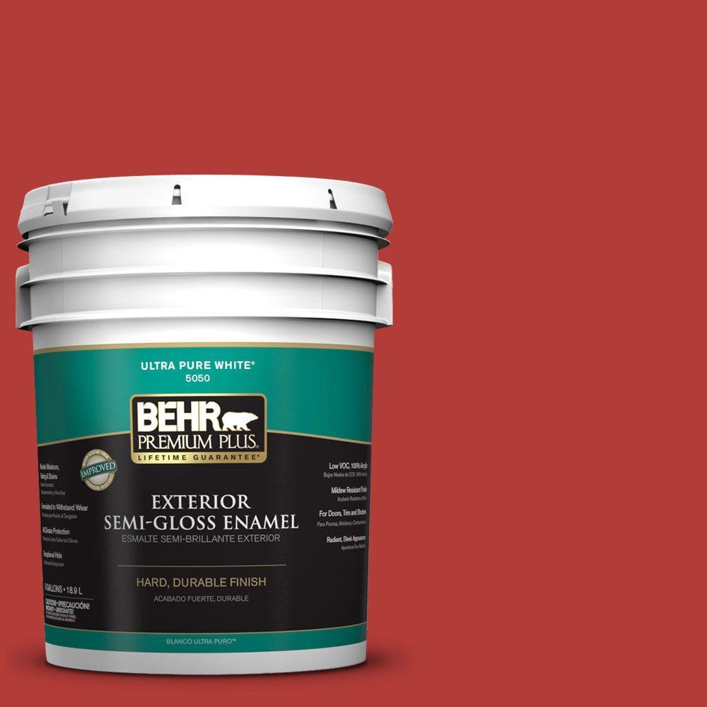 BEHR Premium Plus 5-gal. #PMD-85 Crimson Silk Semi-Gloss Enamel Exterior Paint