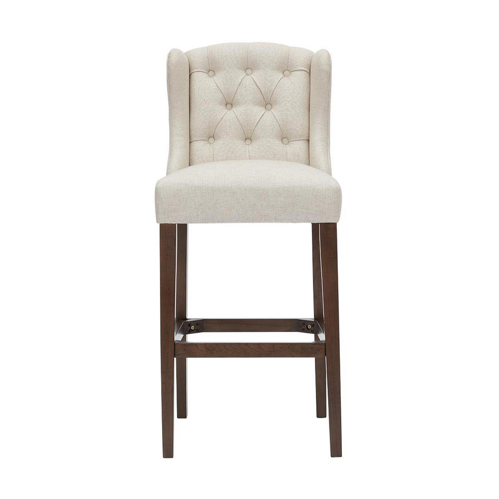 Belcrest Sable Brown Wood Upholstered Bar Stool with Back and Biscuit Beige Seat (20.08 in. W x 44.09 in. H)