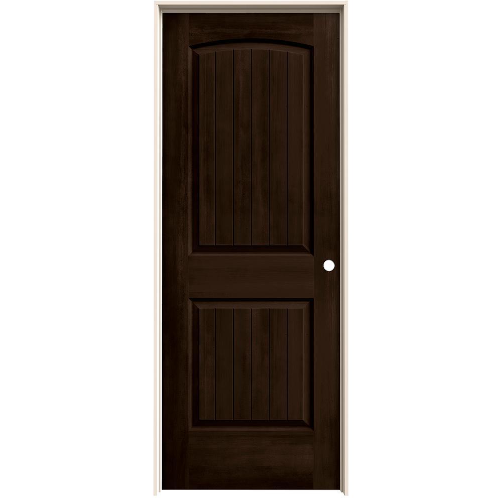 28 in. x 80 in. Santa Fe Espresso Stain Left-Hand Solid Core Molded Composite MDF Single Prehung Interior Door