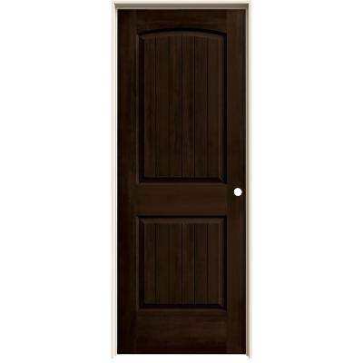 30 in. x 80 in. Santa Fe Espresso Stain Left-Hand Solid Core Molded Composite MDF Single Prehung Interior Door