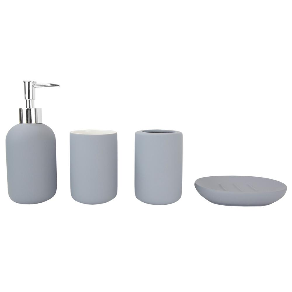 cd736088692e Rubberized Ceramic 4-Piece Bath Accessory Set in Grey-HDC51462 - The Home  Depot