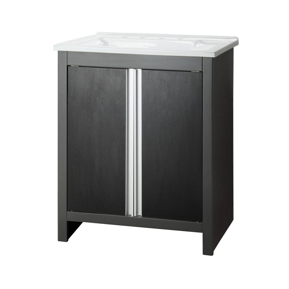 Foremost Rockford 30 in. Laundry Vanity in Iron Gray with Acrylic top in White-DISCONTINUED