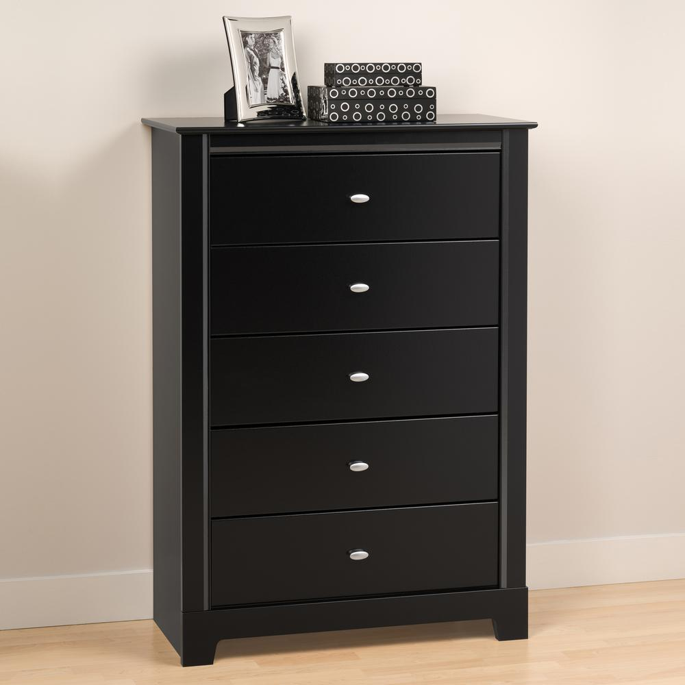 Prepac Kallisto 5-Drawer Black Chest