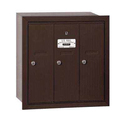 3500 Series Bronze Recessed-Mounted Private Vertical Mailbox with 3 Doors