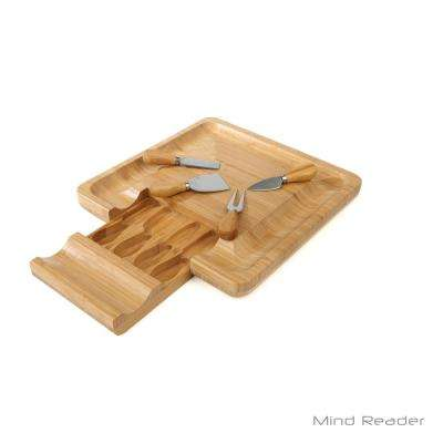 Bamboo Cheese and Snack Tray with Knife Set and Built-in Drawer