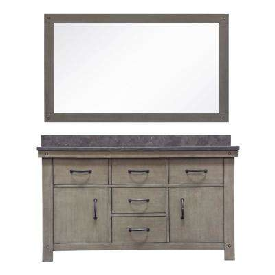 Aberdeen 60 in. W x 34 in. H Vanity in Grizzle Gray with Granite Vanity Top in Limestone with White Basins and Mirror
