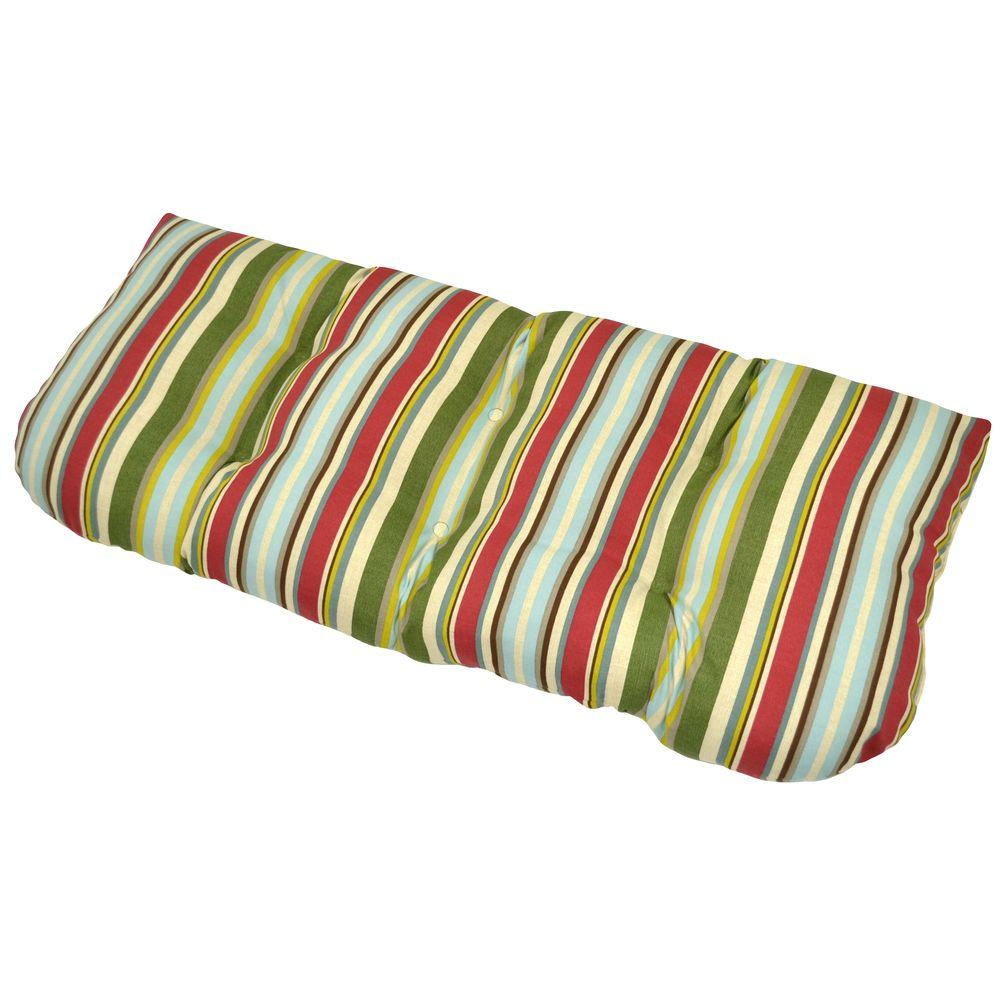 Plantation Patterns Grove Stripe Tufted Outdoor Bench Cushion-DISCONTINUED