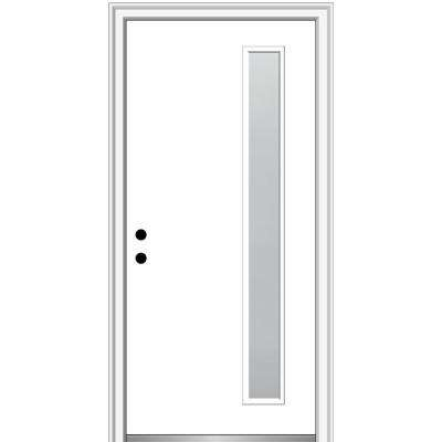 32 in. x 80 in. Viola Right-Hand Inswing 1-Lite Frosted Modern Painted Steel Prehung Front Door on 4-9/16 in. Frame