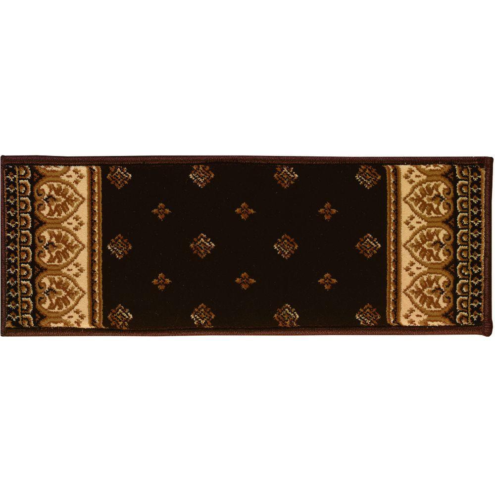 Natco Sapphire Fleur de Lis Chocolate 9 in. x 26 in. Stair Tread