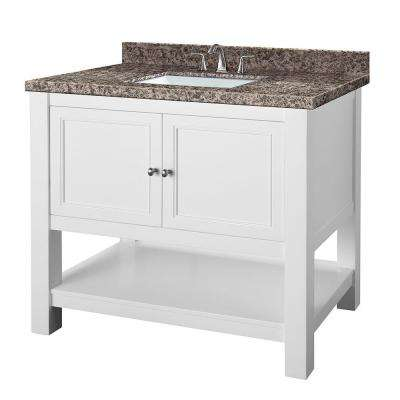 Gazette 37 in. W x 22 in. D Vanity in White with Granite Vanity Top in Sircolo and White Sink