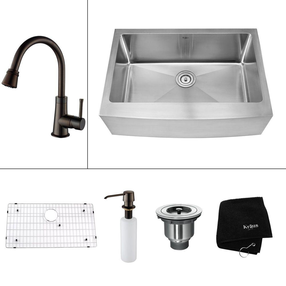 KRAUS All-in-One Farmhouse Apron Front Stainless Steel 29.75 in. 0-Hole Single Bowl Kitchen Sink with Accessories