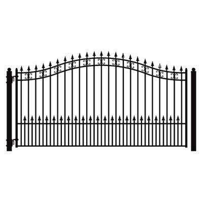 St. Petersburg Style 18 ft. x 6 ft. Black Steel Single Swing Driveway Fence Gate