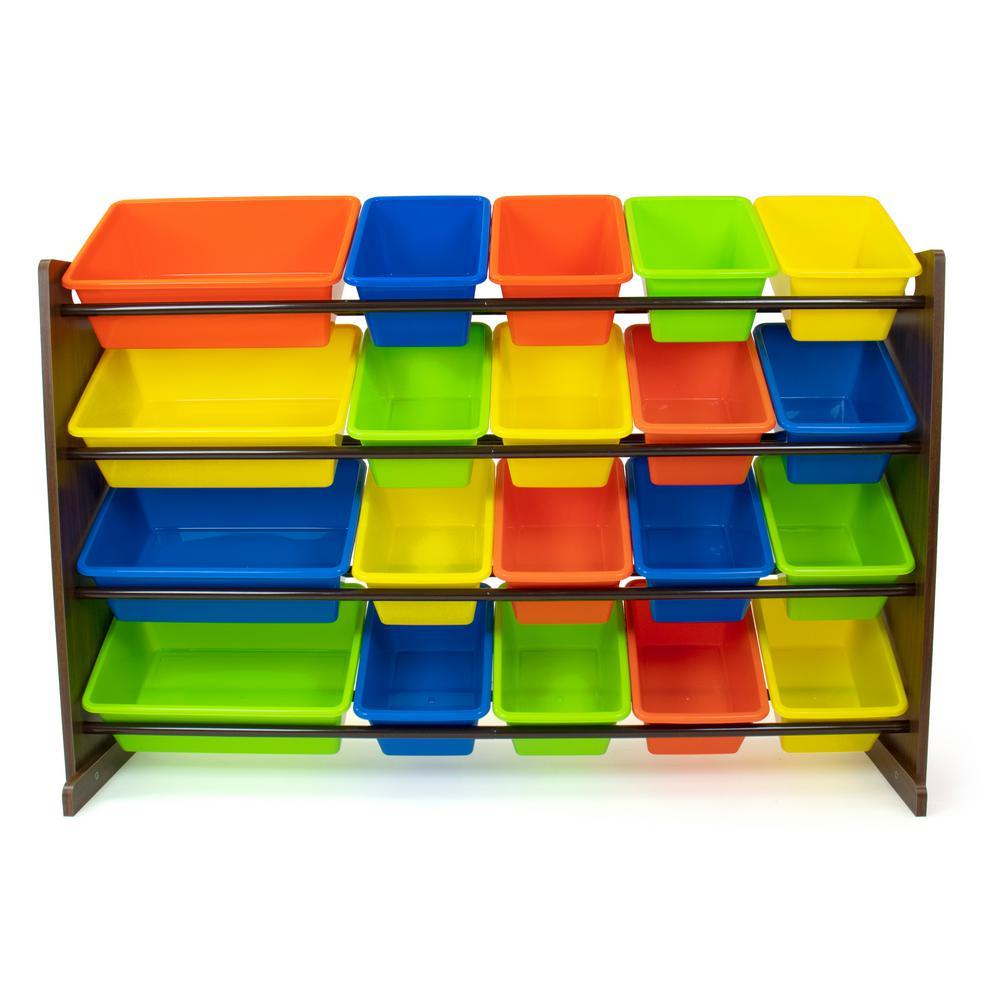 Forest Dark Walnut/Multi-Colored Extra-Large Toy Storage Organizer with 20 Storage Bins