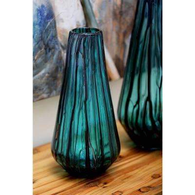 14 in. Glass Decorative Vase in Teal, Light Gray and Brown