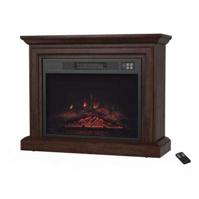 31 in. Mobile Electric Fireplace with Mantel in Brown