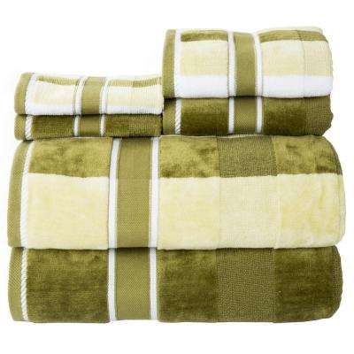 100% Cotton Oakville Velour Towel Set In Green (6 Piece)