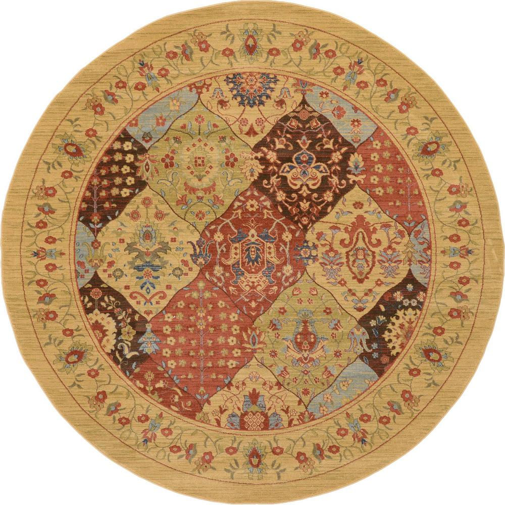 Unique Loom Edinburgh Tulip Tan 8' 0 x 8' 0 Round Rug