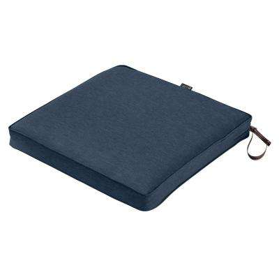 Montlake Fade Safe Heather Indigo Blue 20 in. Square Outdoor Seat Cushion