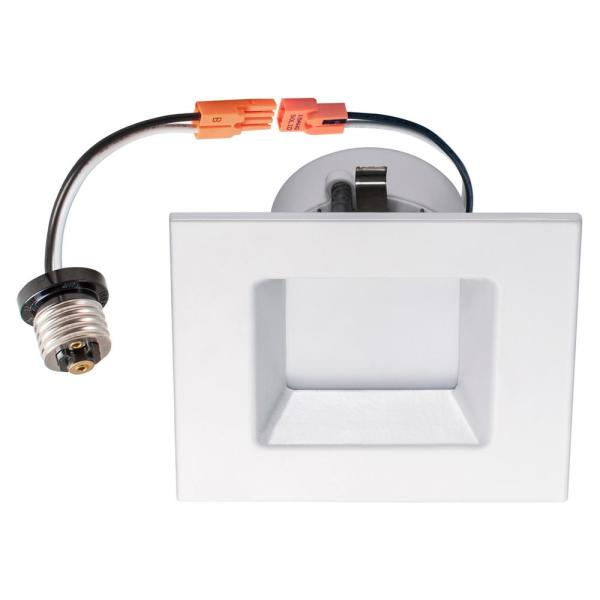 50-Watt Equivalent 10-Watt 4 in Square White Integrated LED Recessed Dimmable Wet Loc Downlight Trim Soft White 99953