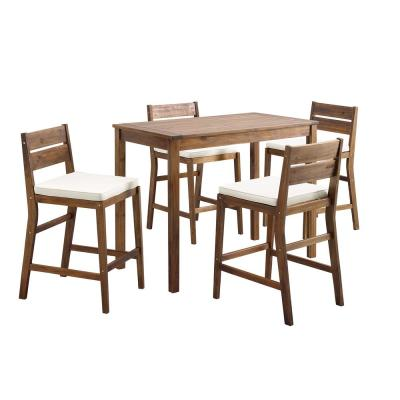 Dark Brown 5-Piece Acacia Wood Rectangle Counter Height Outdoor Dining Set with White Cushions