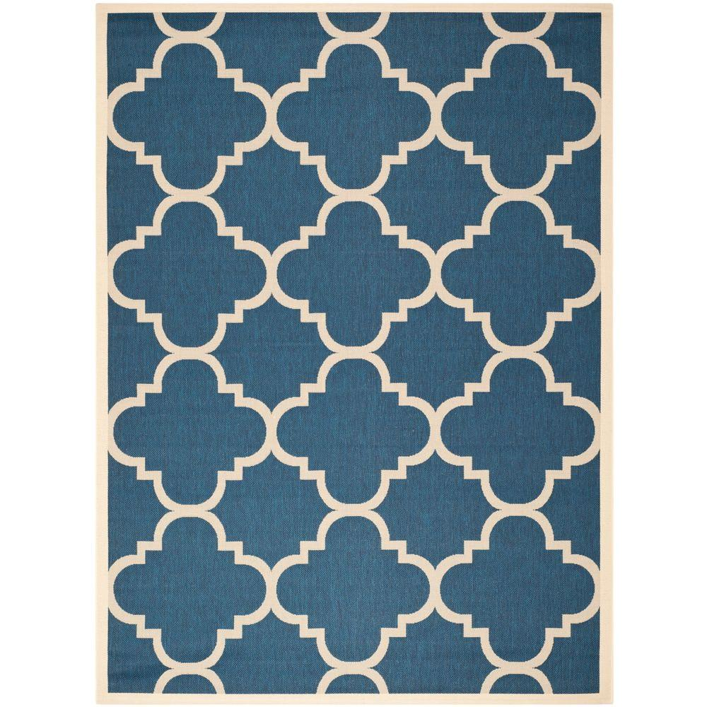 Courtyard Navy/Beige 9 ft. x 12 ft. Indoor/Outdoor Area Rug