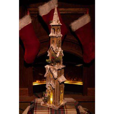31 in. Christmas Wooden House with 15 LED Lights