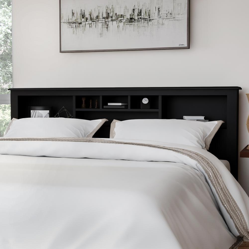 headboard king size storage organizer bookcase wood shelves bedroom black new 689737724900 ebay. Black Bedroom Furniture Sets. Home Design Ideas