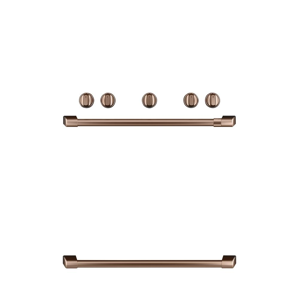 Freestanding Gas Range Handle and Knob Kit in Brushed Copper