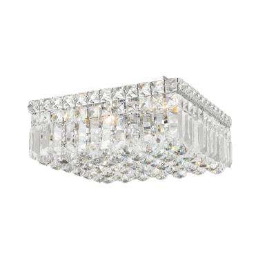 Cascade Collection 4-Light Chrome Flush Mount with Clear Crystal