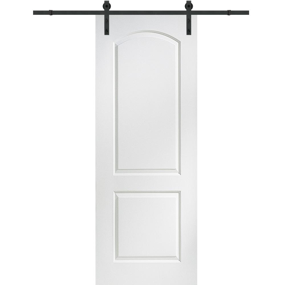 Mmi door 32 in x 84 in continental molded solid core for Single sliding barn door