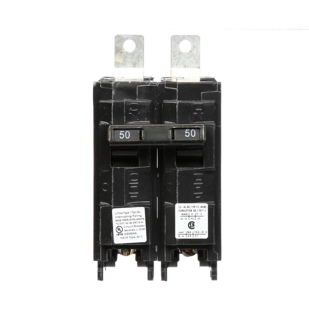 siemens 50 amp 2 pole type bl 10 ka circuit breaker b250r the home depot. Black Bedroom Furniture Sets. Home Design Ideas
