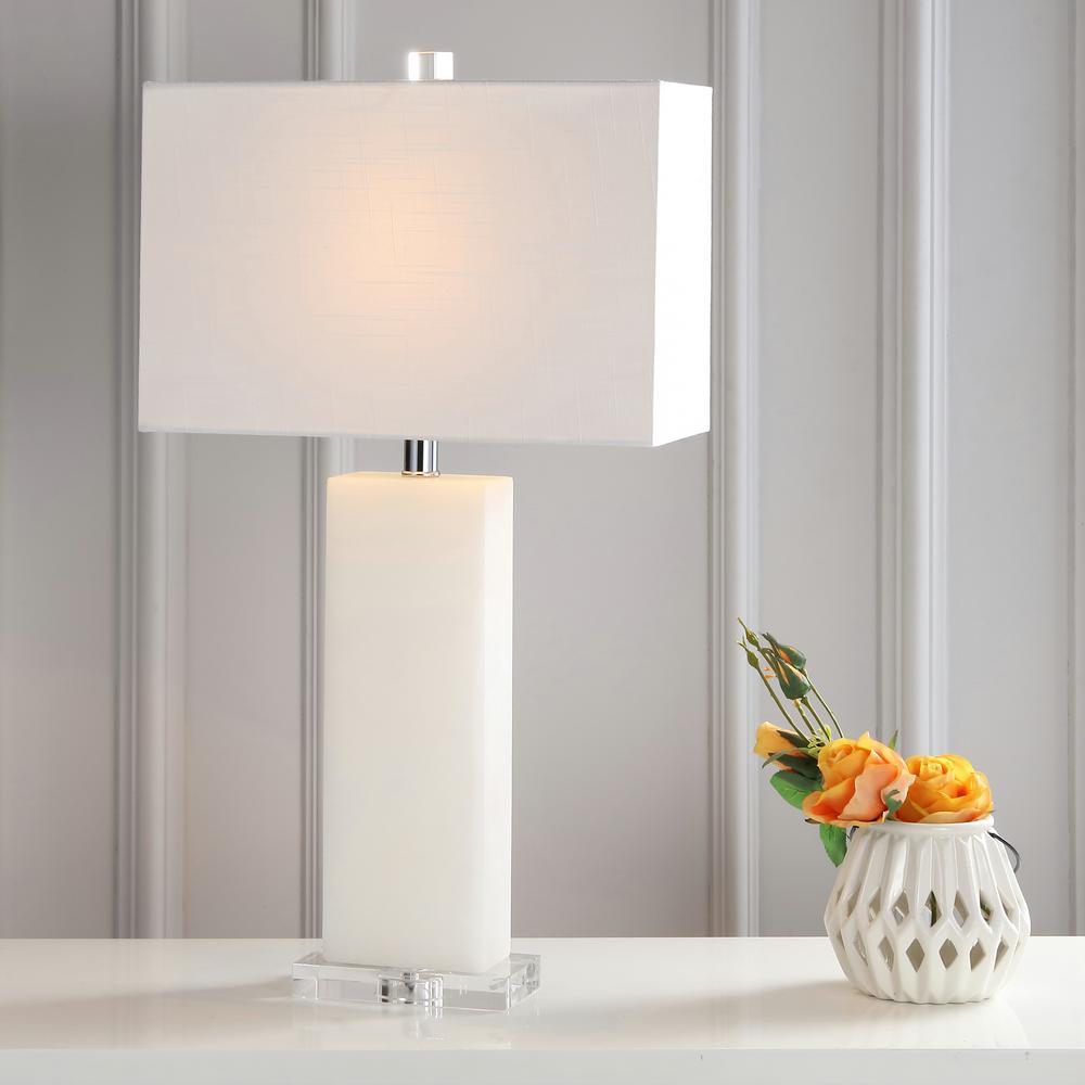 Tiggie 27 in. H White Alabaster Table Lamp