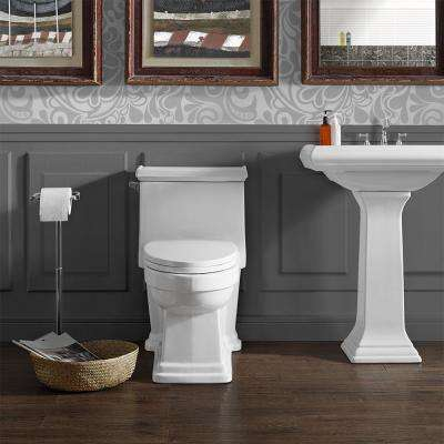 Voltaire 1-Piece 1.28 GPF Single Flush Elongated Toilet in White, Seat Included