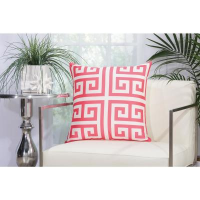 Greek Key Hot Pink Geometric Stain Resistant Polyester 20 in. x 20 in. Throw Pillow