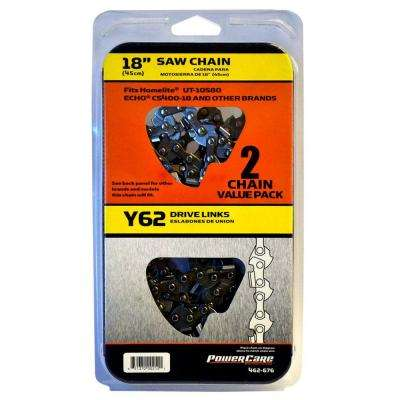 18 in. Y62 Semi Chisel Chainsaw Chain (2-Pack)