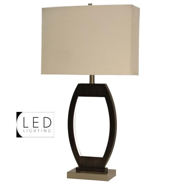 32 in. Black and Brushed Steel Table Lamp with Beige Hardback Fabric Shade