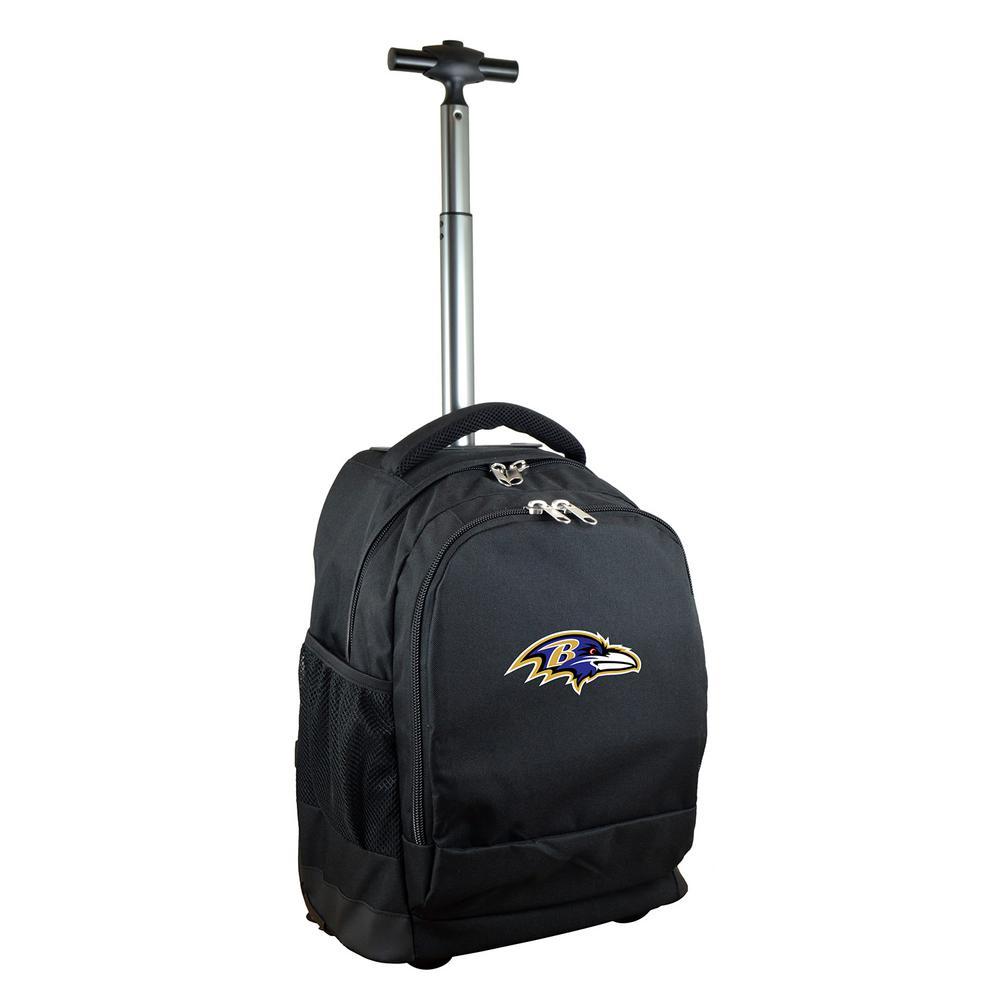 Denco NFL Baltimore Ravens 19 in. Black Wheeled Premium Backpack
