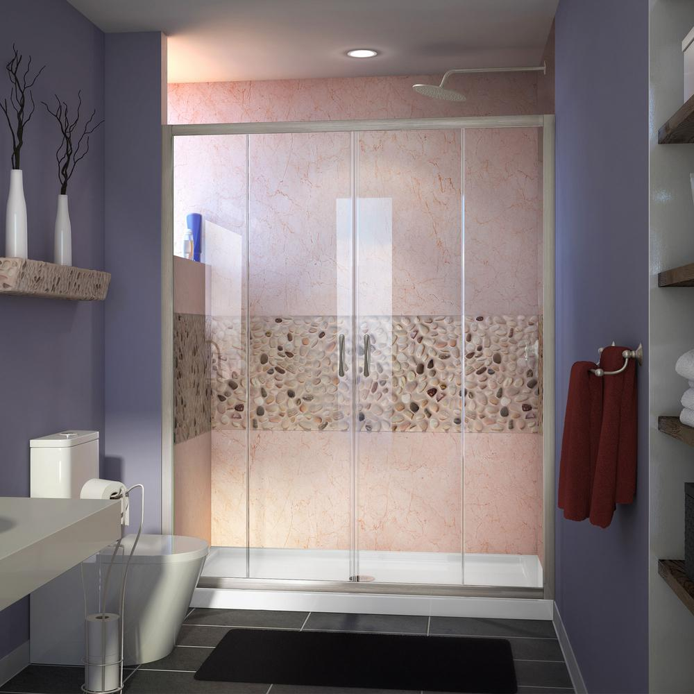 DreamLine Visions 60 in. x 32 in. x 74.75 in. Framed Sliding Shower Door in Brushed Nickel with Center Drain White Acrylic Base