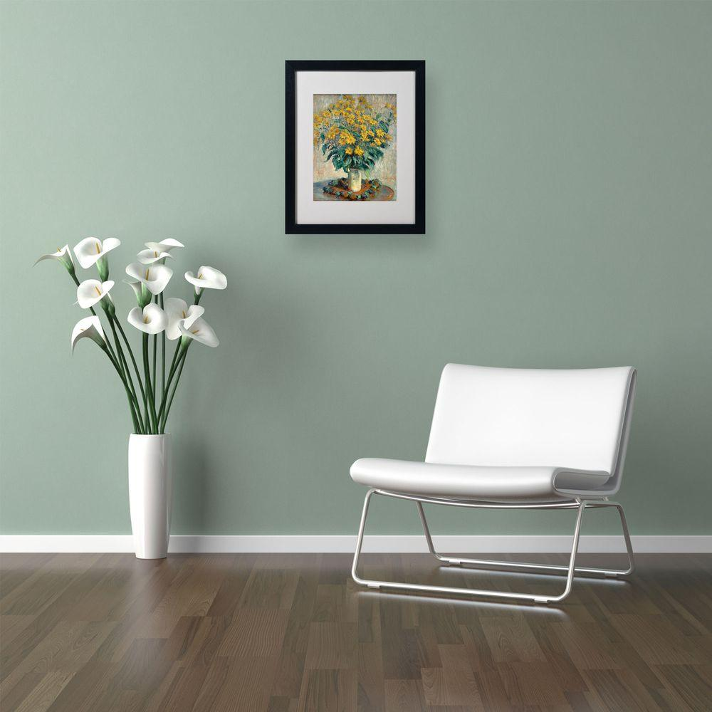 16 in. x 20 in. Jerusalem Artichoke Flowers Matted Black Framed