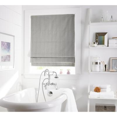 Cut-to-Size Grey Cordless Room Darkening Privacy Polyester Roman Shades 34 in. W x 64 in. L