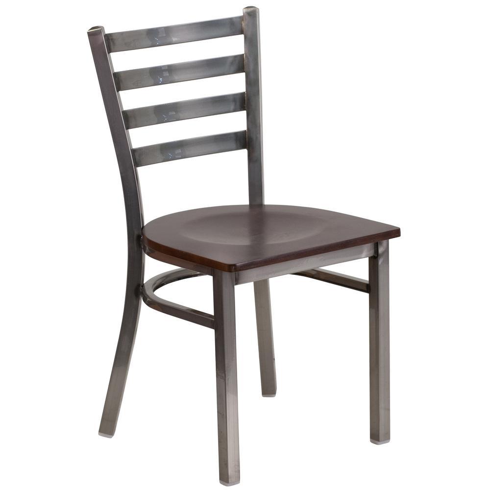 Flash Furniture Hercules Series Clear Coated Ladder Back Metal Restaurant Chair - Walnut Wood Seat by Flash Furniture