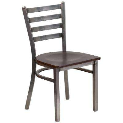 Hercules Series Clear Coated Ladder Back Metal Restaurant Chair with Walnut Wood Seat
