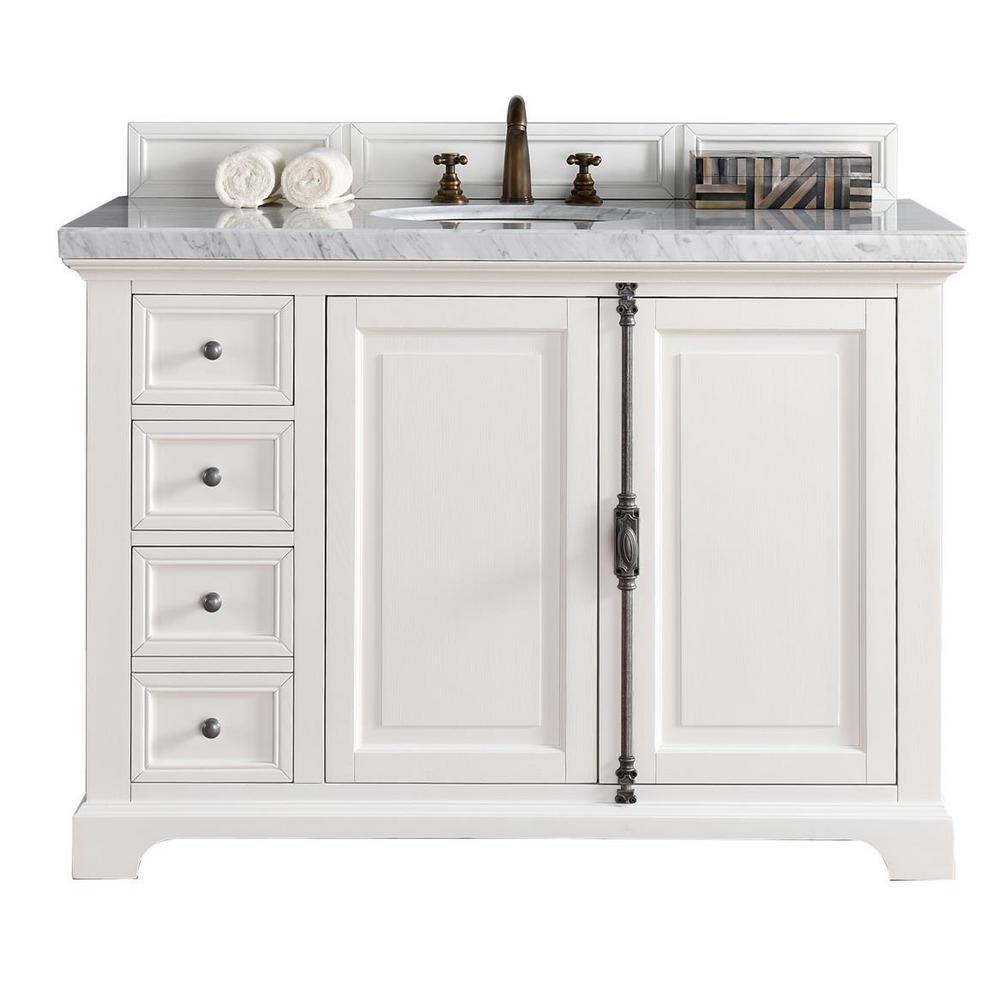 Providence 48 in. W Single Vanity in Cottage White with Marble Vanity Top in Carrara White with White Basin