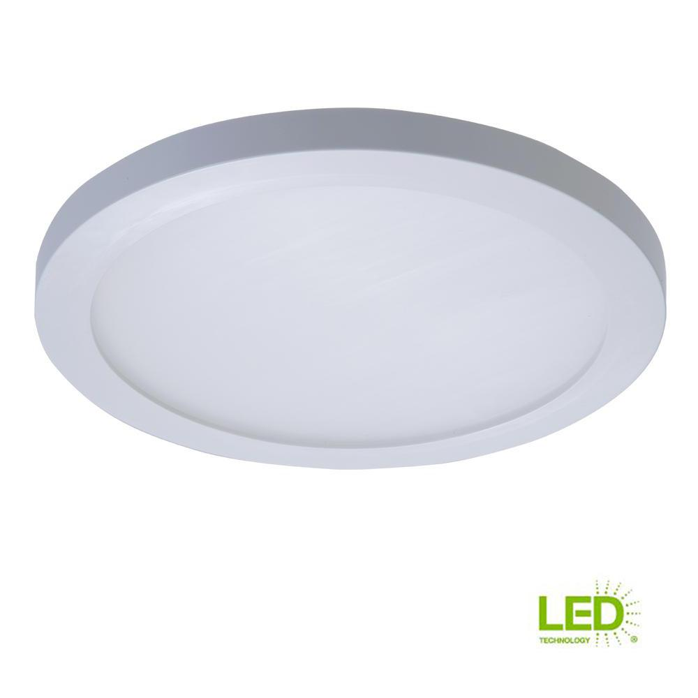 White integrated led recessed round surface mount ceiling light fixture at 90 cri 5000k daylight