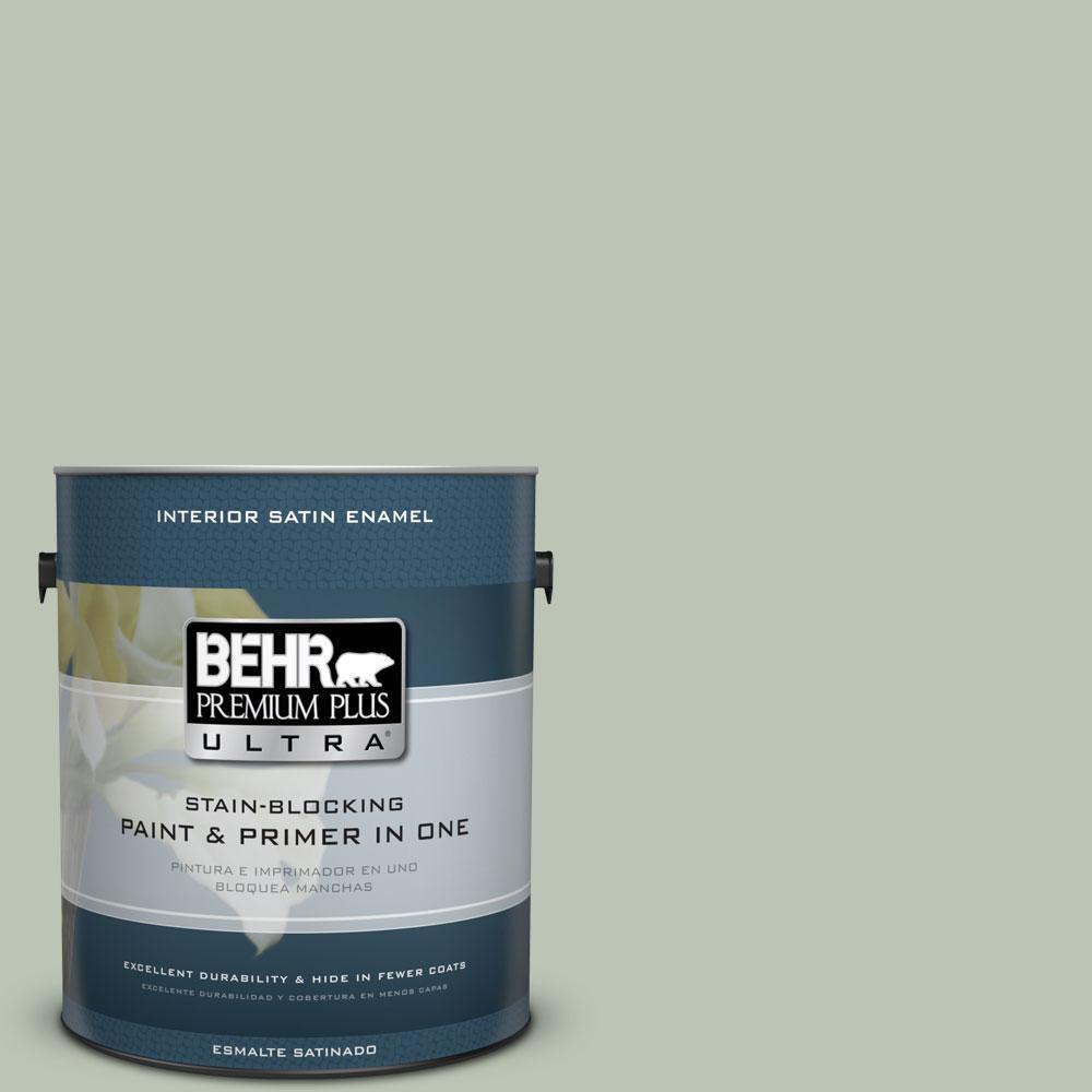BEHR Premium Plus Ultra 1-Gal. #PPU11-11 Summer Green Satin Enamel Interior Paint