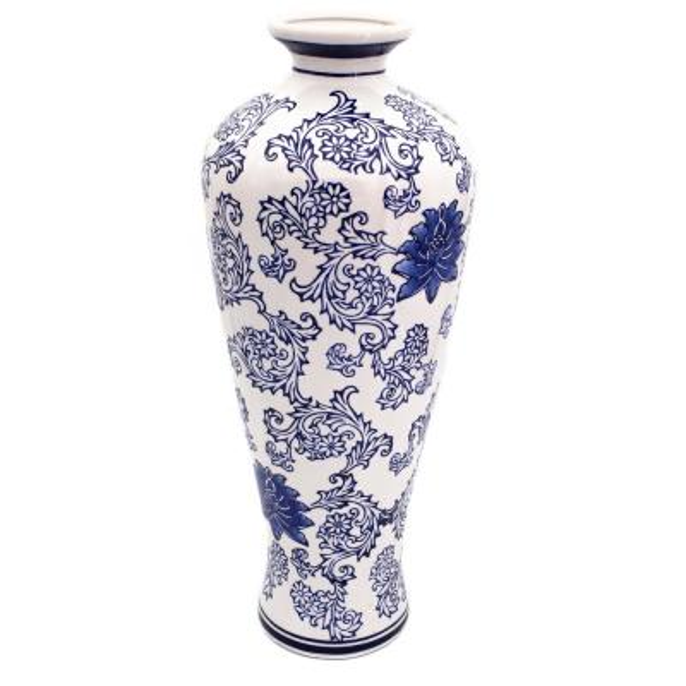 Blue Garden Tall White Lotus Shoulder Vase