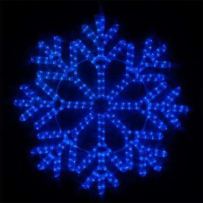 24 in. 380-Light LED Blue 40 Point Hanging Snowflake Decor